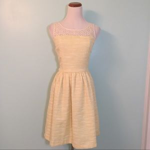 Elle Yellow and Cream Fit and Flare Dress